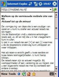 NS website mobiel - Klik voor grotere versie