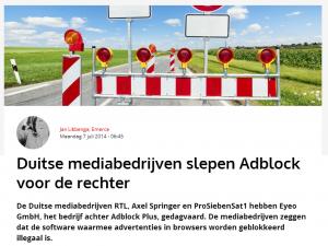 Duitse mediabedrijven willen Adblock voor de rechter slepen