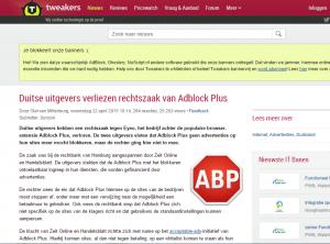 Adblock wint rechtszaak in Duitsland