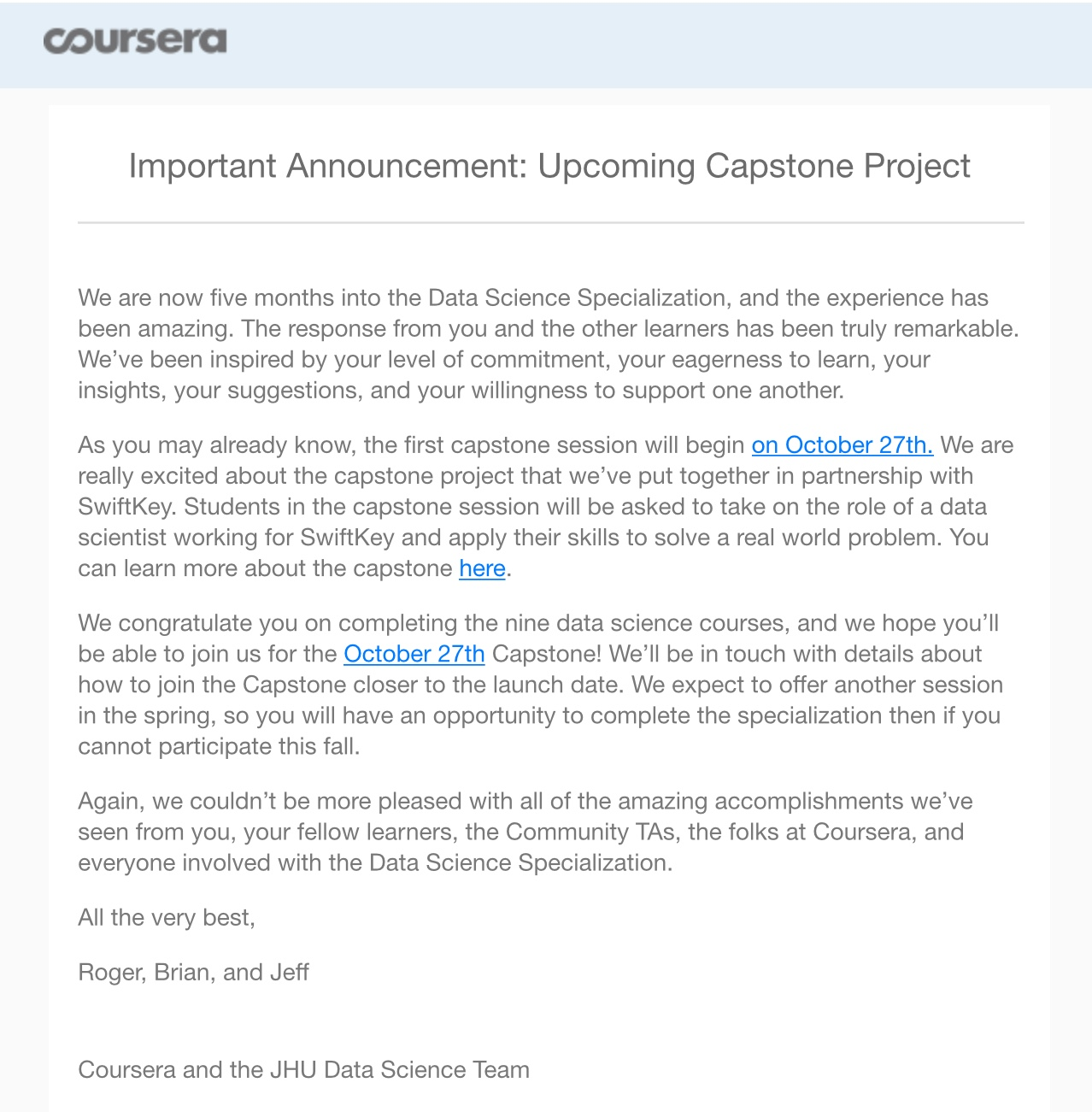 Coursera Data Science Capstone project start 27 oktober a.s.