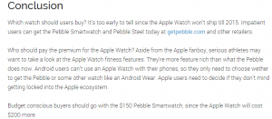Pebble Watch versus Apple Watch