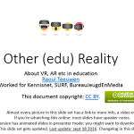 De Super Slidedeck van Raoul over Virtual Reality en Augmented Reality