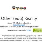 De Super Slidedeck van Raoul over Virtual Reality en Augmented Reality