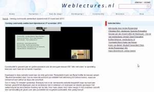 Verslag community weblecture bijeenkomst 27 november 2013