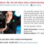 M&L Webinar: 4K, 3D en andere video gerelateerde ontwikkelingen