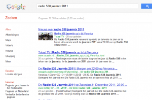 Radio 538 Jaarmix 2011 in Google